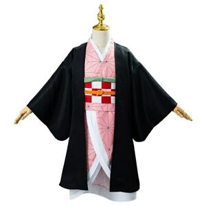 ZSTO Kamado Nezuko Costume for Children,Anime Demon Slayer Cosplay Kimono Dress Suit Full Set