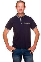 Ugholin Men's Plain Cotton Slim Fit Short Sleeve Navy Blue Polo Shirt
