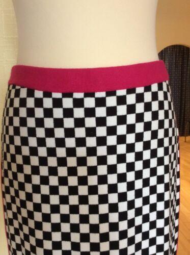 Riani £175 £79 16 Skirt Black Size Now Bnwt Pink Rrp Checked White ww6Rq