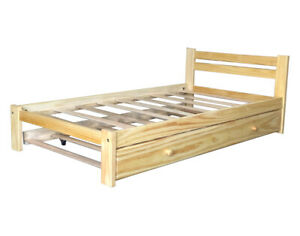 Solid-Pine-Twin-Bed-amp-Trundle-Light-Pine-Finish-Wooden-Trundle-Bed