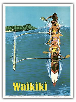 Hawaii 1960s Outrigger Canoe Vintage Travel Poster 20x30
