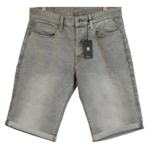 G-Star RAW Men/'s 3301 Straight Light Aged Grey Denim Shorts Retail $120