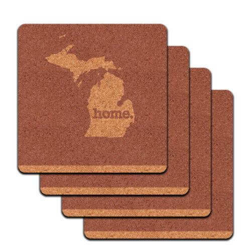 Michigan MI Home State Low Profile Cork Coaster Set