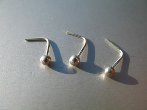 3 x 925 Sterling Silver Nose Studs ~ Large Ball 2.5mm