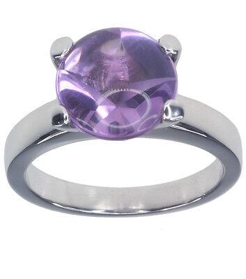 Amethyst Gemstone With Star Cut Sterling Silver Ring
