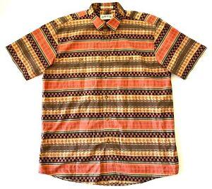 Orvis-Aztec-Striped-Hawaiian-Aloha-Short-Sleeve-Shirt-Mens-Size-Large-L