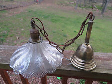 Vintage Industrial Steampunk Brass Hanging Light Fixture Holophane Glass Shade