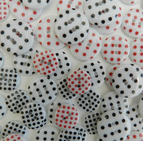 10 spotty round buttons white /& red or white /& black choice of sizes 2 holes