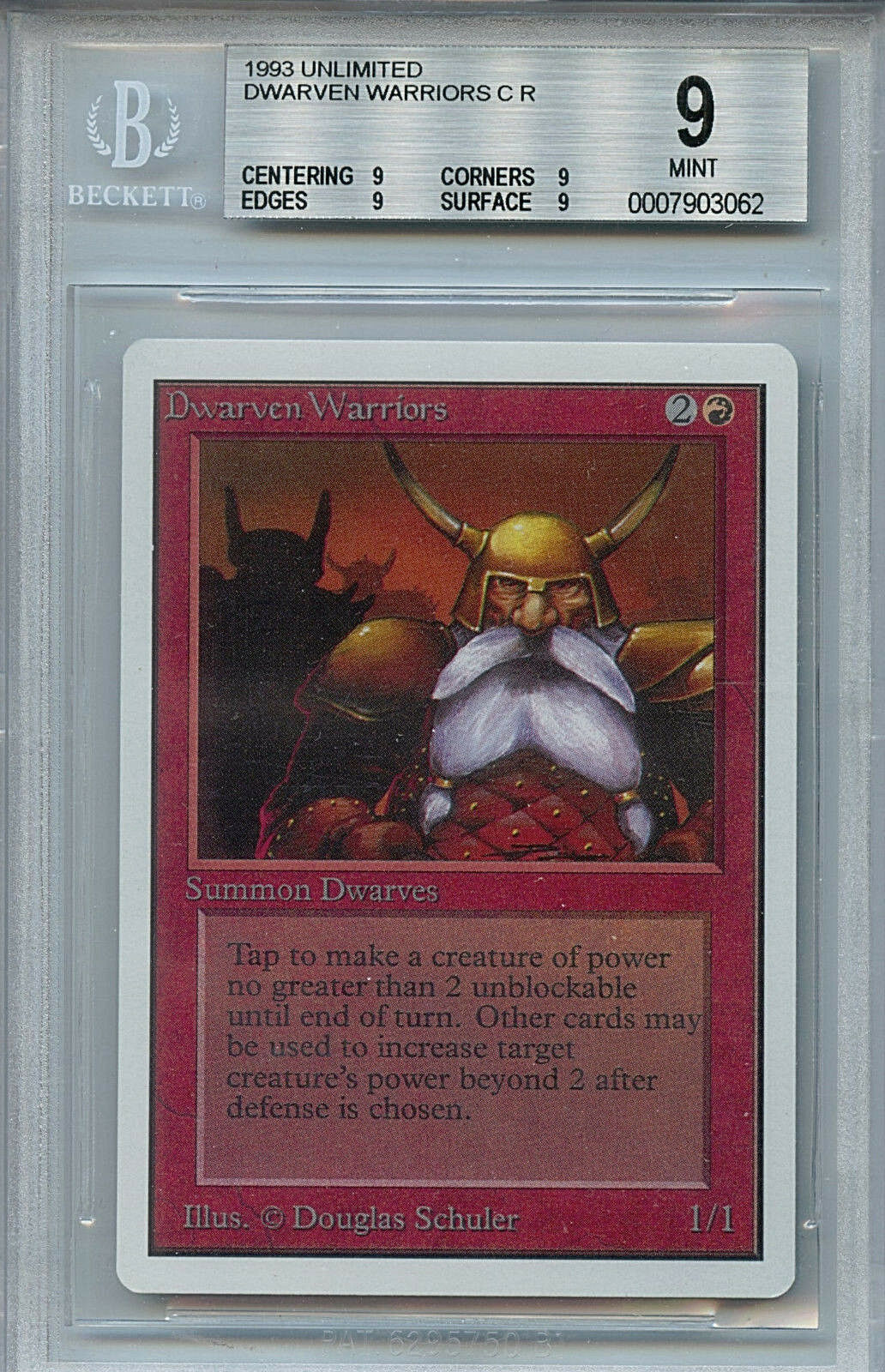 MTG Unlimited Dwarven Warriors BGS 9.0 (9) Mint Card Magic Quad 4 X 9's 3062