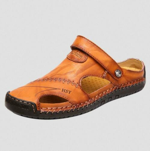 Men Leather Hollow out Breathable Slippers Shoe Casual Slip on Sandals Loafers D