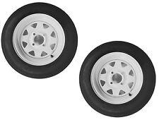 "2-Pack eCustomrim Trailer Tire & Rim 4.80-12 12"" Load C 4 Lug White Spoke 39341"