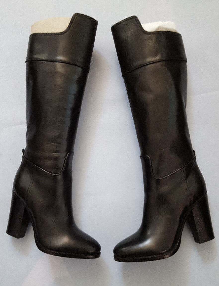 RALPH LAUREN COLLECTION TADINA BLACK HIGH CALF LEATHER BOOTS SZ 7.5B MADE ITALY