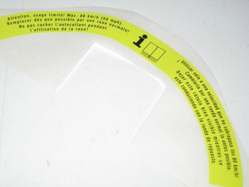 MERCEDES Pliable Roue De Secours Pneu Avertissement étiquette Autocollant A2115840438