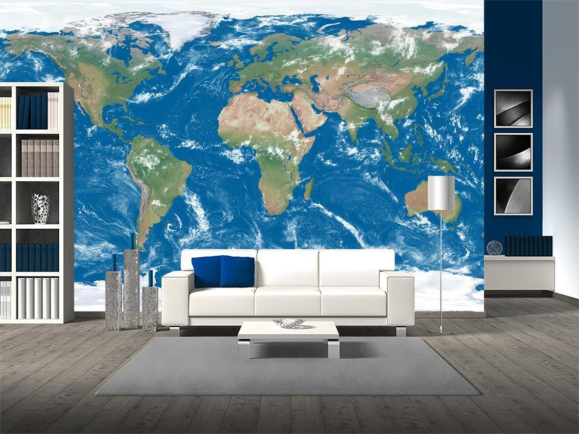 World Map Photo Wallpaper Woven Self-Adhesive Wall Art Mural Decal M250