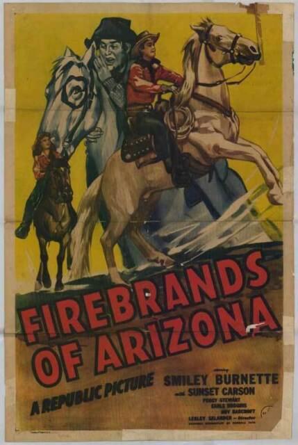 FIREBRANDS OF ARIZONA Movie POSTER 11x17 Smiley Burnette Sunset Carson Peggy