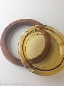 Large-heavy-8-034-Amber-Glass-Cigar-Ashtray-2pc-Walnut-Wood-Frame-Vintage-Excellent