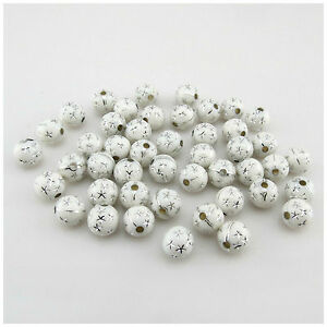 100pcs x 8mm Sparkling Silver Dot Acrylic Round Beads for jewellery making