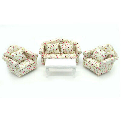 1:12 Dollhouse Living Room Furniture Wood Couch Lounge Bed With 1 Beside Table