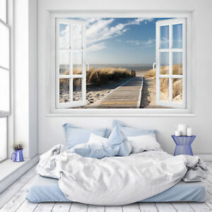 fototapete fenster 3d strand 183 x 127cm meer strand d nen ostsee nordsee tapete ebay. Black Bedroom Furniture Sets. Home Design Ideas