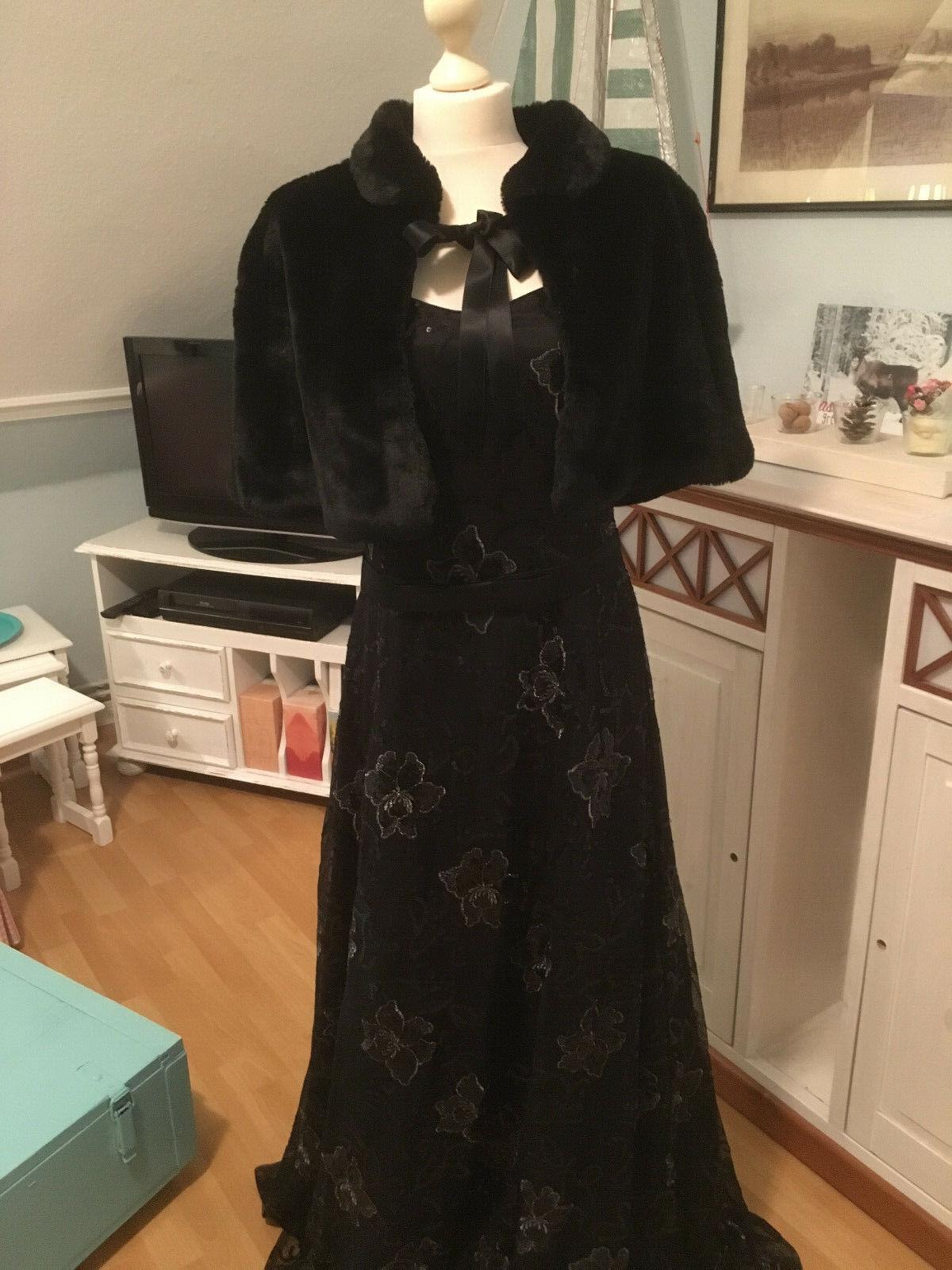 Ballkleid  Abendkleid Gr.40 schwarz einmal getragen Besteickt edel mit Fell