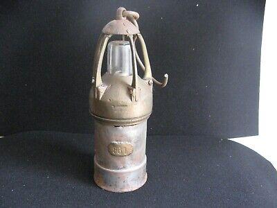 Superbe lampe de mineur en laiton massif avec plaque cuivre fonctionelle