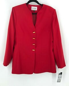 200-Le-Suit-Women-Red-Long-Blazer-Jacket-Size-12-Gold-Bar-Buttons-Career-NEW