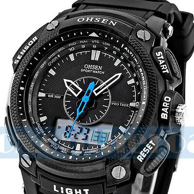 OHSEN Black Waterproof Digital LCD Day Alarm Mens Military Sport Rubber Watch
