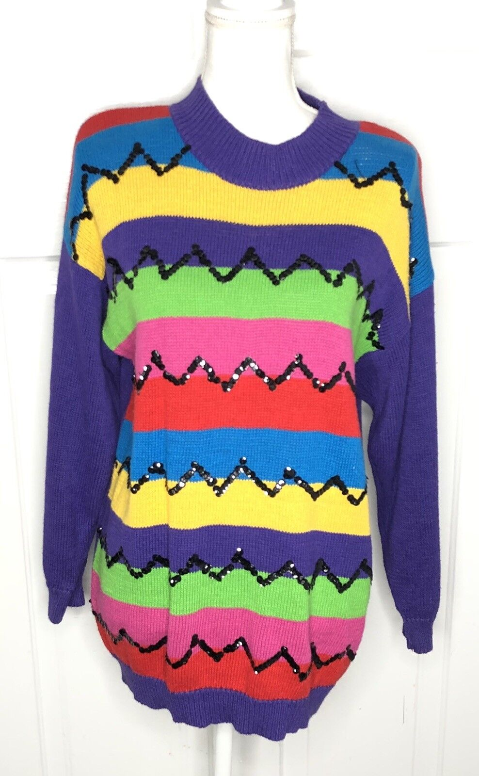 Vintage women Small knit sweater Tunic colorful sequin 1980s 1990s Oversized
