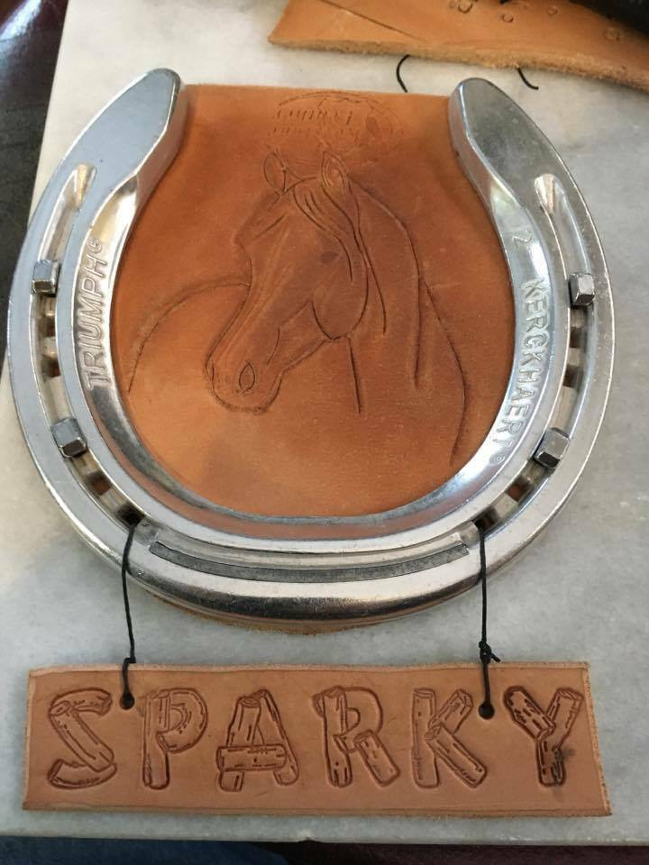 Personalized horse stall name plate made with Leather and Aluminum  Horseshoe  fast shipping worldwide