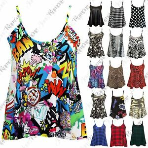 New-Ladies-Sleeveless-Camisole-Womens-Printed-Strappy-Flared-Swing-Cami-Vest-Top