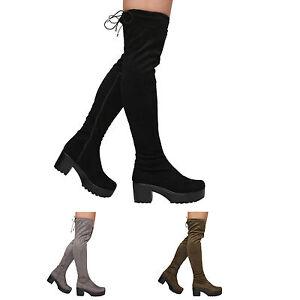WOMENS-LADIES-ZIP-UP-BLOCK-MID-HEEL-PLATFORM-OVER-THE-KNEE-STRETCH-LACE-BOOTS