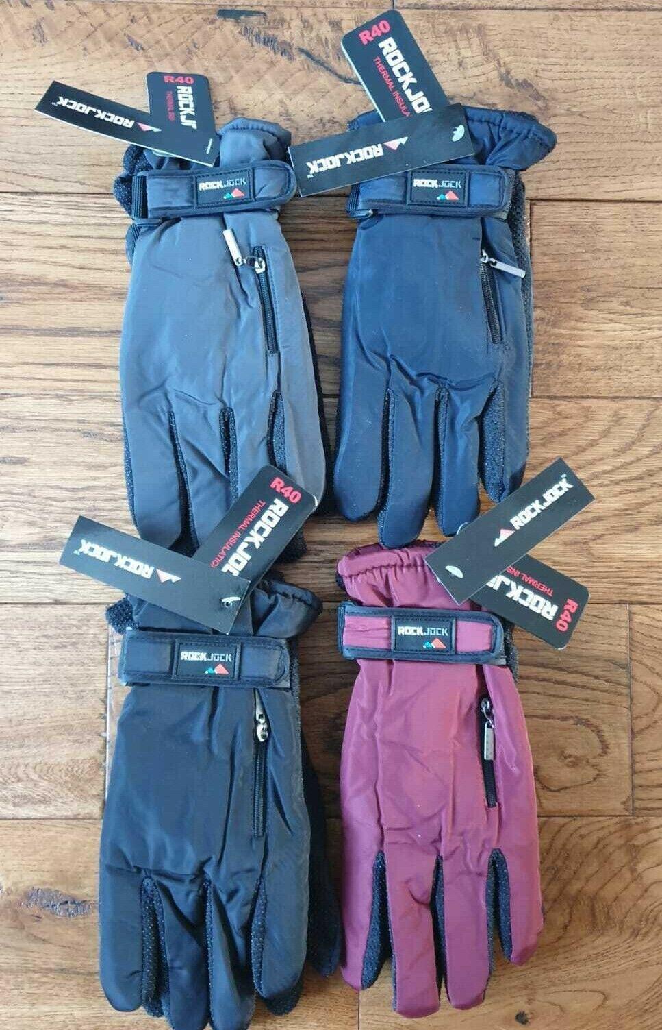 Ladies Winter showerproof outdoor padded fleece lined ski zip pocket warm gloves