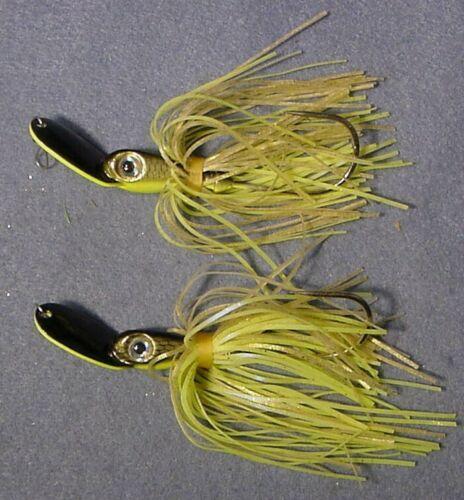 Lot of 2 Pro Assassinator 3//4 oz Swim Jigs 34TE-GBS Golden Bronze Chartreuse