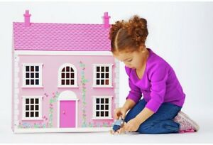 Chad-Valley-Wooden-3-Storey-Dolls-House-Children-039-s-Girls-Pink-Doll-House-Toy-NEW