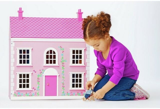 Chad Valley Wooden 3 Storey Dolls House Children's Girls Pink Doll House Toy NEW