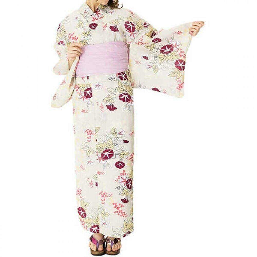 Japanese Women's Dobby Weave Yukata Kimono 4 Set of Items 07 Japan with Tracking