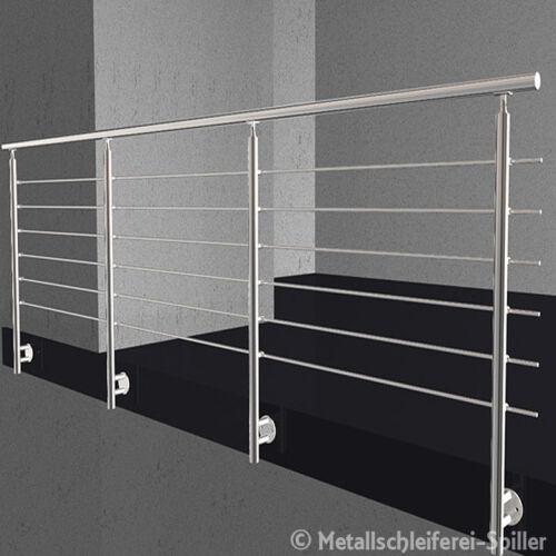Edelstahl Geländer Balkon Handlauf 6 Traversen vorgesetzte Montage 500-2600 mm