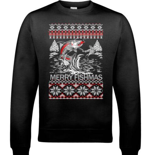 FISHING CHRISTMAS Jumper Merry Fishmas Mens Funny Xmas Sweatshirt Ugly Fisherman