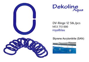 Dekoline Shower Curtain Rings 12 Pieces Royal Blue Duschzubehör Rings