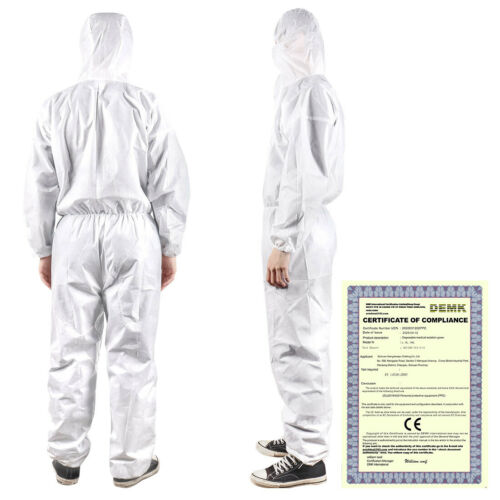 PPE Anti-Virus Full Protective Suit Reusable zippered Coveralls Isolation Washab