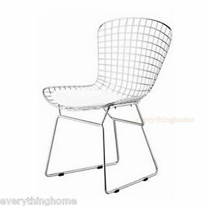 Bertoia-Style-Dining-Side-Chair-White-Pad-Modern-Cafe-Steel-Wire-Chrome-Mesh