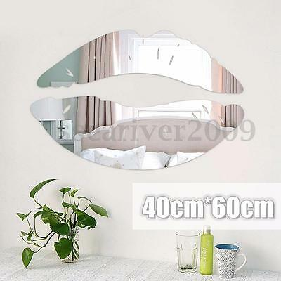 DIY 3D Silver Mirror Removable Decal Art Mural Lip Wall Vinyl Sticker Home Decor