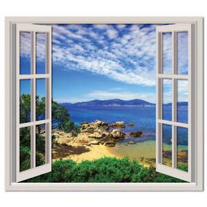 Vista sulla spiaggia 3d finestra adesivo murale paesaggio - Adesivo murale finestra ...