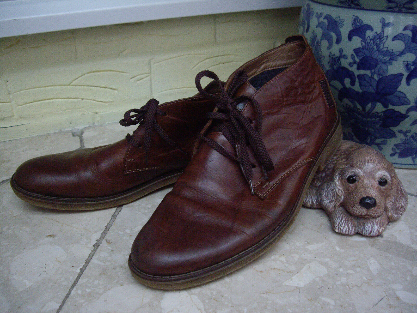 RIEKER BROWN LEATHER ANKLE BOOTS MENS CHESTNUT DESERT OR CHUKKA BOOTS ~ 10