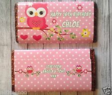 PERSONALISED Owl CHOCOLATE BAR WRAPPER fits Galaxy 114g Birthday Christmas Gift