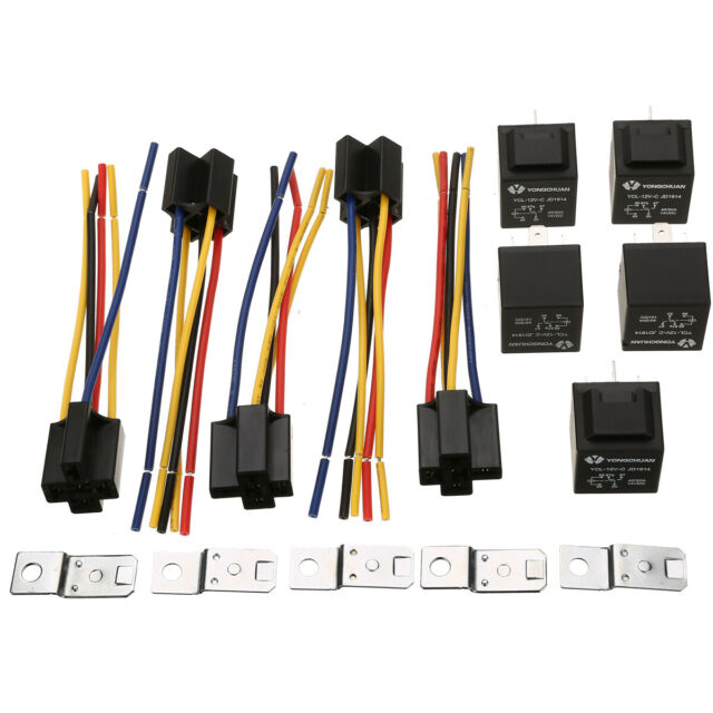 5pc Dc 12v Car Spdt Automotive Relay 5 Pin 5 Wires W