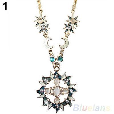 Women's New Glamor Sun Moon Decoration Alloy Rhinestone Chain Pendant Necklace