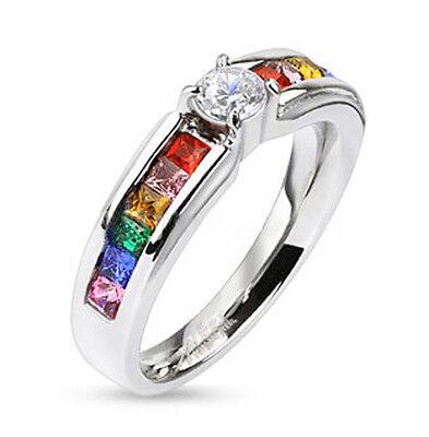 Pride Shack - Rainbow Ring w/ CZ Middle Stone -LGBT Lesbian Gay Pride Ring Sizes