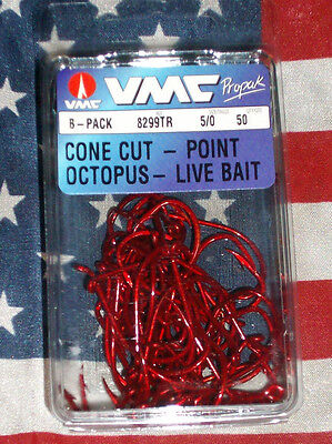 vmc 5//0 red octopus cone cut live bait fishing hooks 8299tr qty 50 france made