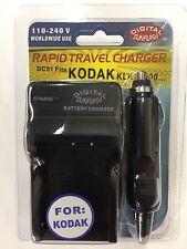 KODAK KLIC7000 DC51 Battery Wall & Car Charger by Digital Sunflash - Black